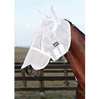 WEATHERBEETA BUZZ AWAY FLY MASK WITH NOSE WHITE