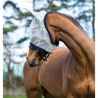 HORSEWARE AMIGO FINE MESH FLY MASK SILVER WITH NAVY BINDING
