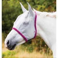 AMIGO FINE MESH FLY MASK SILVER WITH PURPLE BINDING
