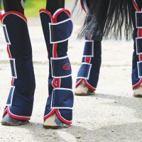 WEATHERBEETA WIDE TAB LONG TRAVEL BOOTS NAVY/RED/WHITE