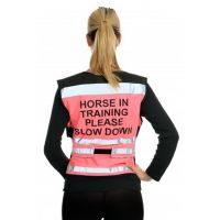EQUISAFETY AIR WAISTCOAT PINK HORSE IN TRAINING PLEASE SLOW DOWN