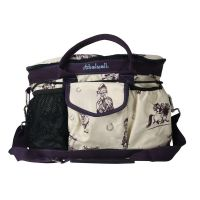 HY THELWELL COLLECTION GROOMING BAG BEIGE/AUBERGINE
