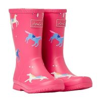 JOULES PINK HORSES JUNIOR WELLY