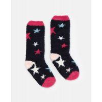 JOULES FLUFFY SOCKS UK4-8 NAVY STAR