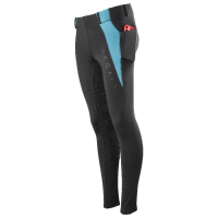 LEGACY KIDS RIDING TIGHTS BLACK/TURQUOISE