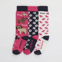 TOGGI SILTON CHILDRENS DOG PRINT SOCKS 3 PACK PINK