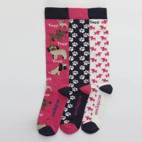TOGGI LADIES SILTON DOG PRINT SOCKS 3 PACK PINK